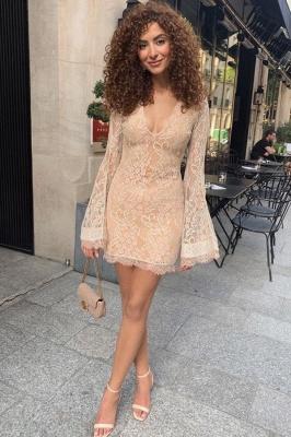 Sexy V Neck Long Sleeve Lace Sheath Homecoming Dresses | Short Party Dress_1