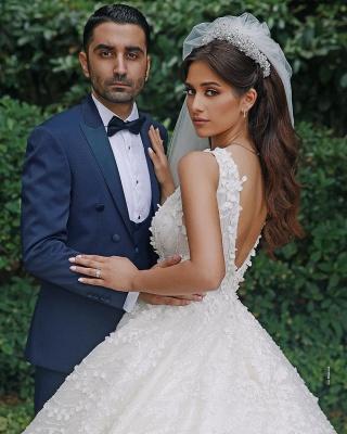 Elegant Straps V Neck Backless Floral Crystal Pleated Ball Gown Wedding Dresses_2