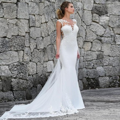 Lace Fitted Wedding Dresses | Jewel Sleeveless Sheath Bridal Gown_4
