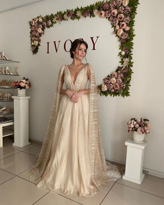 Champagne Straps Deep V Neck Sleeveless Backless Tulle Shawl A  Line Wedding Dresses_3