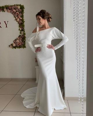 Long Sleeve Backless Sash Floor Length Mermaid Wedding dresses_3