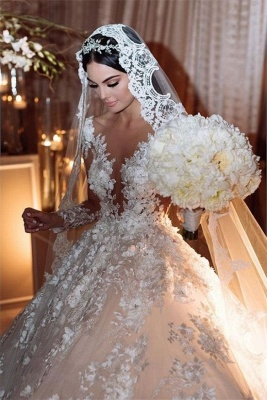 Luxury Jewel Long Sleeve Floral Ball Gown Wedding Dresses | Backless Floor Length Wedding Gown_3