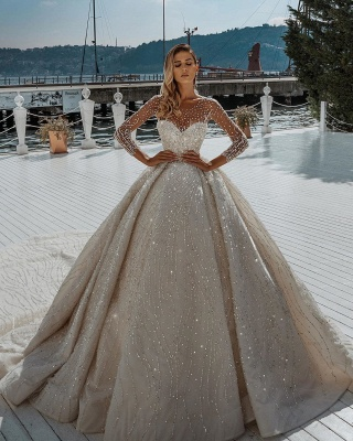 Sparkly Long Sleeve Jewel Crystal Sequin Pleated Ball Gown Wedding Dresses_2