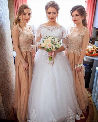 Bateau Lace Ball Gown Wedding Dresses with Sleeves_3