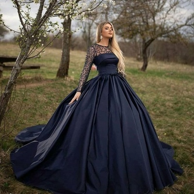 Dark Navy Jewel Long Sleeve Pearls Ball Gown Prom Dresses | Puffy Evening Dresses_2