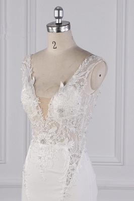 Elegant Sleeveless Ivory Satin Tulle Mermaid Wedding Dresses With Lace Appliques_5