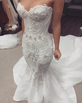 Sexy Sweetheart Backless  Lace Fit And Flare Mermaid Wedding Dresses_2
