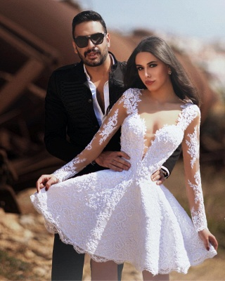 Long Sleeve Lace A Line Short Mini A Line Wedding Dresses_2