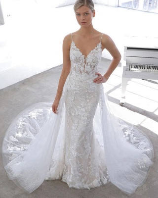 Simple Style Spaghetti Strap V Neck Applique Detachable Skirt Lace Sheath Wedding Dresses_2