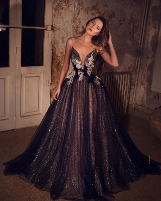 Sparkly Spaghetti Strap Sweetheart Sequin A Line Prom Dresses With Floral_2