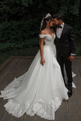 Stunning Sweetheart Off The Shoulder Crystal Sequin Applique Sheath Wedding dresses With Detachable Train_1