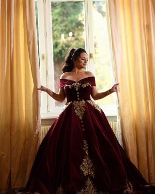 Luxury Off The Shoulder Red Velvet Prom Dresses Lace Ruffles Evening Dresses_7