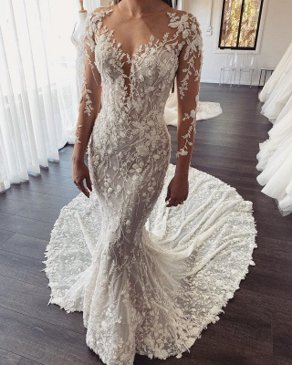 Elegant Jewel Long Sleeve Illusion Back Lace Floral Fitted Mermaid Wedding Dresses_3