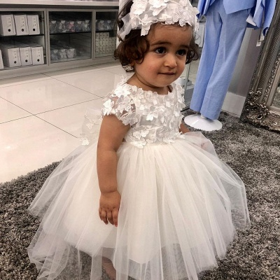 Jewel Short Sleeve Floral Tulle Ball Gown Flower Girl Dresses_2