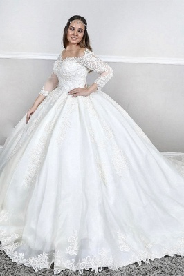 Bateau Plus Size Long Sleeve Applique Puffy Ball Gown Wedding Dresses_1