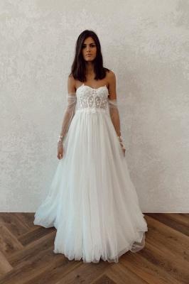 Off The Shoulder Backless Applique Tulle A Line Wedding Dresses_1