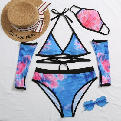 Blue V Neck Two Pieces Swimsuit With Matching Mask_10