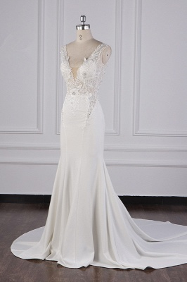 Elegant Sleeveless Ivory Satin Tulle Mermaid Wedding Dresses With Lace Appliques_4