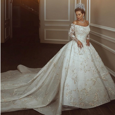 Long Sleeve Off The Shoulder Sweetheart Applique Crystal Ball Gown Wedding Dresses_2