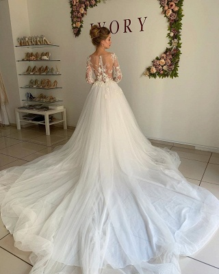 Elegant Long Sleeve Applique Beaded Tulle A Line Wedding Dresses_2