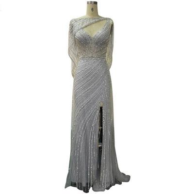 Luxury V-neck Beaded Fitted Evening Dresses | Dubai Diamond Formal Dress_7