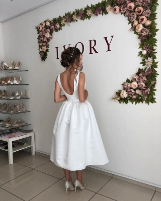 Straps Deep V Neck  Satin  Tea Legnth A  Line Wedding Dresses_2