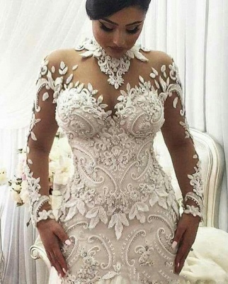 High Neck Lace Appliques Mermaid Wedding Dresses with Long Sleeves_2