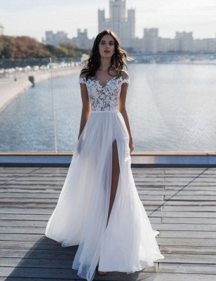 Jewel Slit Lace A Line Wedding Dresses   Sheer Back Sash Bridal Gown_3