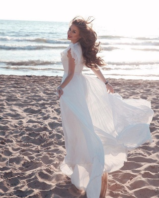 Sexy Short Sleeve Floor Length Tulle Flowing A Line Wedding Dresses_3
