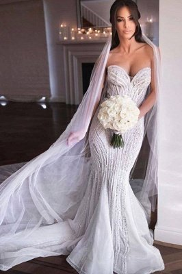 Sweetheart Strapless Beads Mermaid Wedding Dresses_1