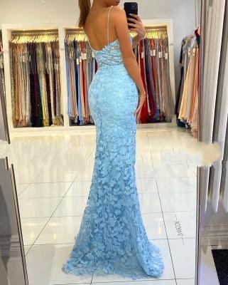 Spaghetti Strap V Neck Side Slit Lace Floor Length Mermaid Prom Dresses_5