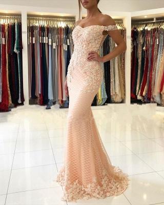 Off The Shoulder Sweetheart Floral Pearls Floor Length Mermaid Prom Dresses_2