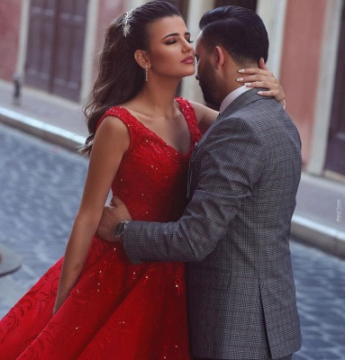 Red Straps Sweetheart Sequin Ball Gown Prom Dresses | Crystal Lace Evening Dresses_3