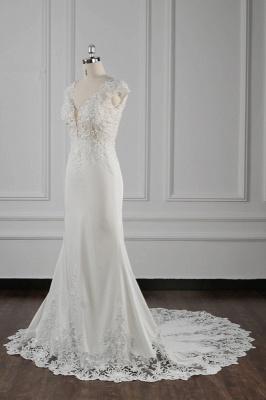 Elegant Ivory Chiffon V Neck Mermaid Wedding Dresses With Lace Appliques_3