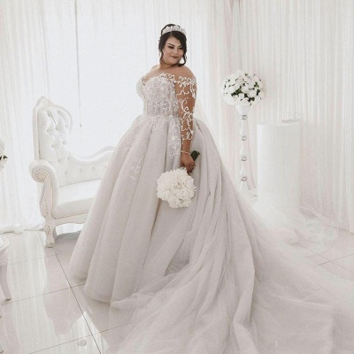 Jewel Lace Appliques Ball Gown Wedding Dresses with Long Sleeves_4