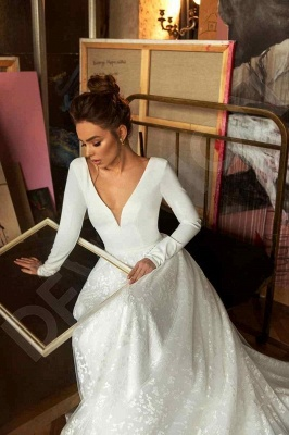 Elegant Long Sleeve V Neck A Line Wedding Dresses | Lace Wedding Gown_5