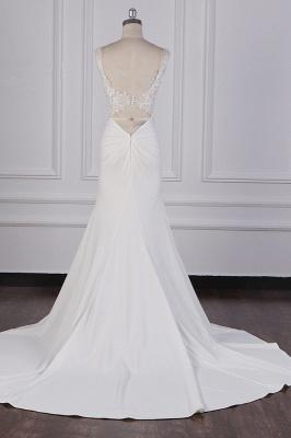 Elegant Sleeveless Ivory Satin Tulle Mermaid Wedding Dresses With Lace Appliques_6