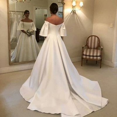 Gorgeous Off The Shoulder Backless A Line Wedding Dresses With Sweep Train_3