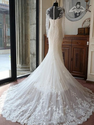 Gorgeous Long Sleeve Jewel Pearls Wedding Dresses | Sheer Back Applique Wedding Gown_2