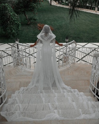 Chic Sweetheart Off The Shoulder Sash Crystal Sequin Floor Length Sheath Wedding dresses With Shawl_2
