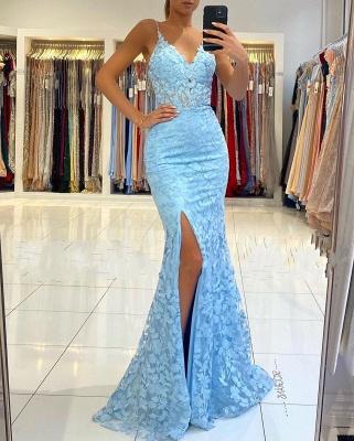 Spaghetti Strap V Neck Side Slit Lace Floor Length Mermaid Prom Dresses_3