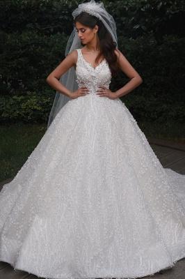 Elegant Straps V Neck Backless Floral Crystal Pleated Ball Gown Wedding Dresses_1