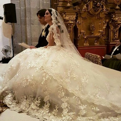 Luxury Jewel Long Sleeve Floral Ball Gown Wedding Dresses | Backless Floor Length Wedding Gown_4
