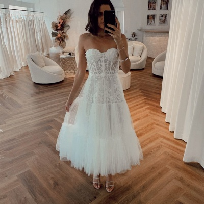 Sexy Sweetheart Backless Applique Tea Length  Pleated Tulle A Line Wedding Dresses_2