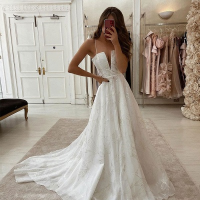 Sexy Spaghetti Strap Deep V Neck Applique Beaded A Line Wedding Dresses_2
