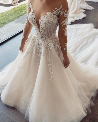 Sexy Jewel Nude Illusion Back Long Sleeve Lace Pleated A Line Wedding Dresses_2