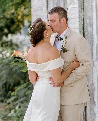 Elegant Sweetheart off The Shoulder Sheath Wedding Dresses | Backless Wedding Gown_2