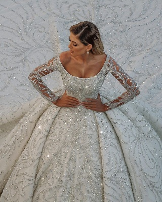 Glamorous Off The Shoulder Backless Long Sleeve Crystal Sequin Ball Gown Wedding Dresses_3