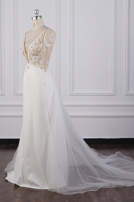 Graceful Sleeveless V Neck Tulle Beading Wedding Dresses With  Lace Appliques_4