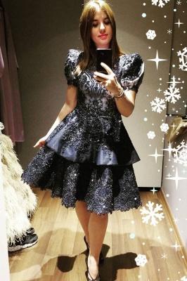 Luxury Short Sleeves Black Satin Lace Ruffles Midi Evening Dresses_1